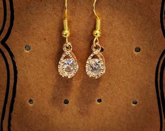 Teardrop Gold Earrings with Crystal Gem