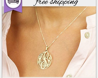 Gold Monogram Necklace • Circle Monogram • Personalized Monogram Necklace • Custom Jewelry • Bridesmaid Necklaces • Gift for Her • GPN1065