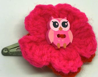 Pink and Red Flower Hair Clip