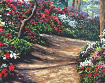 SALE LE Serigraph Flowers Azaleas from the original oil painting Path of Azaleas #360