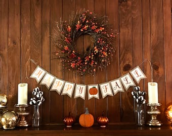 Fall Burlap Banner | Thanksgiving Banner