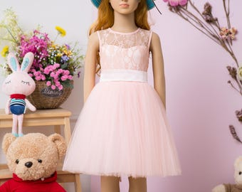 Pink flower girl dress, lace girl dress, tulle girl dress, first communion dress, pageant dress, birthday dress, holiday dress, knee length