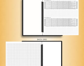 Foldout YEARLY calendar 2018, #F-Y (standard inserts, standard travelers notebook insert, standard tn inserts, standard printable)