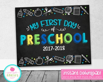 First Day of Preschool Chalkboard Sign - First Day Sign - Blue, Green, Yellow, Turquoise - 8x10 Instant Download Printable Sign