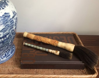Chinese calligraphy brush -- horse hair, bone, wood, carved design, paint, coffee table decor, eclectic, ethnic)