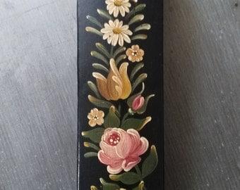 Antique French papier mache lacquer Art pencil. Empire Napoleon III. Trinket Box