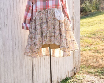 Flannel Shirt - Tunic  - Boho Clothing - Upcycled - Womens XS/Small A- Line Style - Jacket , Coat Cocoa and Pumpkin Plaid Vintage Lace Back