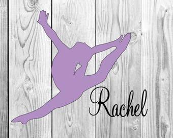 Gymnastics Leap Monogram Name Decal For Yeti, Car Decal, Tumbler Decal, laptop Decal