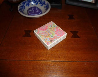 Handmade Ceramic Tile coasters, paisley pattern, set of 4