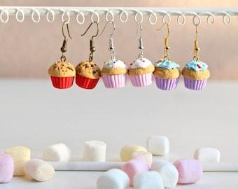 Fimo Cupcake earrings, cupcake Earrings, food Jewelry, Miniature food, Polymer Clay Earrings, cupcake jewelry, Kawaii Gift foodie