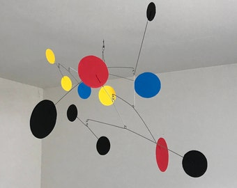 Hand-Painted Alexander Calder Inspired Mid-Century Modern Abstract Kinetic Mobile Sculpture #16
