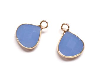 2 Ice Blue Glass Teardrop Pendant Polished Gold Plated