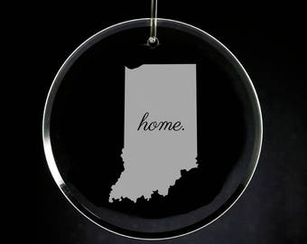 Indiana Christmas Ornament, Etched Crystal Ornament, Indiana Christmas Gift, Engraved Ornament, Wedding Gift, Housewarming Gift, Custom
