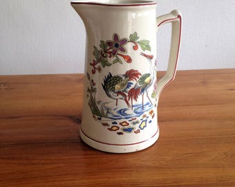 Pitcher, jug, pitcher - ceramic - crane - vintage