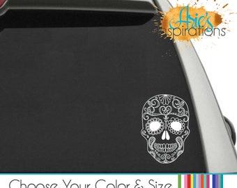 Sugar Skull Car Decal, Sugar Skull Decal, Skull Car Decal, Cute Skulls, Car Decals, Sugar skull Sticker, Sugar Skulls