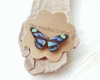 Butterfly pin brooch. Vintage Blue butterfly badge. Lapel pin. Butterfly moth jewellery. Moth butterfly accessory