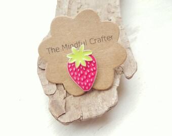 Strawberry brooch badge. Strawberry jewellery. Strawberry food accessory. Kitsch Wimbledon jewellery