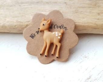 Deer brooch deer pin deer badge. Bambi pin bambi brooch jewelry Woodland deer Wildlife jewellery doe accessory Doe a Deer  woodland animal