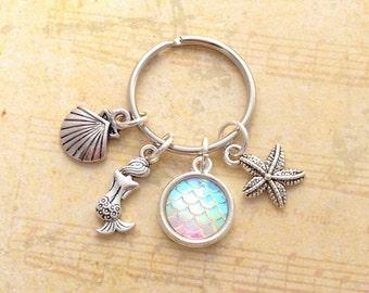 Mermaid Keyring, Opal Mermaid Keychain, Fantasy Bagcharm, Mermaid Scale Charm, Ocean Keyring, Beach Keychain, Seashell Bagcharm