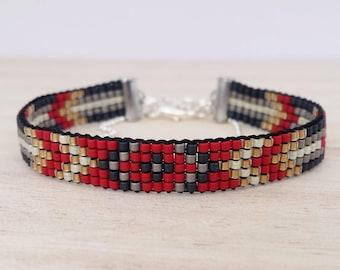 Red & black loom beaded bracelet, Bead woven bracelet, Seed bead loom bracelet, Bohemian style bracelet, Hippie style bracelet
