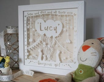Baby gift personalised baby girl framed papercut