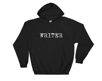 Grunge Writer Typewriter Print Hooded Sweatshirt - Author Gift - Writer Gift - NaNoWriMo