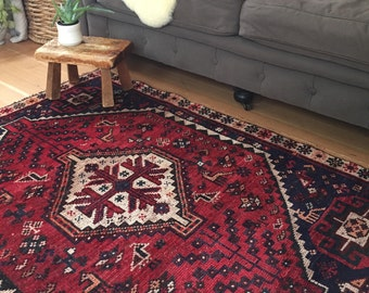 "Clem // Antique Vintage Persian Rug 4'11""x3'7"", small rustic tribal Heriz bohemian area accent rug"