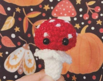 Red Mushroom, keychain, Amigurumi, crocheted figurine, kawaii, cute, autumn, thanksgiving, mushroom, nature, forest, presentidea
