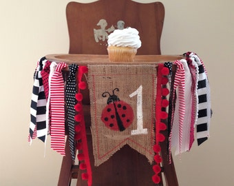 Ladybug Birthday Highchair Banner / Cake Smash / First Birthday / Photo Shoot Prop / Party Decor /Red Black & White Banner/Girl Summer Party