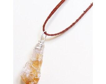 Handmade Citrine Crystal Necklace