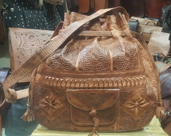 shoulder  leather bucket bags ,moroccan handcrafted leather  bucket bags,  leather bags