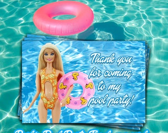 BARBIE POOL PARTY  thank you Cards,Barbie thank you notes,BarbieThank you tag,Instant download printables,party printable Thank you tags,diy