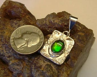 Bright Green and Yellow Ammolite from Utah Deposit in Sterling Silver Pendant 083BG