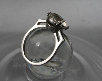 Rhinestone Ring, Wedding Ring, Sterling Silver Ring, 925 Ring, Vintage Rhinestone Jewelry, Sparkle Gem, Valentines Ring, Stunning Ring