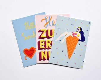 Postcard Set With 3 Postcards Summer Handlettering Cheerful