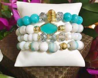 Sea Breeze Stack Bracelets Beaded Bracelets Layering Bracelets Stretch Bracelets