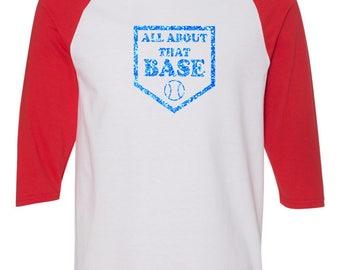 Glitter Baseball Mom Home Plate  3/4 Sleeve Baseball Style Tee- Custom Blue Glitter All About That Base design