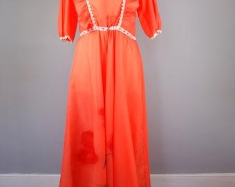 Vintage 70s Maxi Dress - Victorian Prairie Style Summer Dress