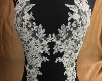 Lace Applique, Venice headpiece applique, bridal lace applique 2 pcs #30306