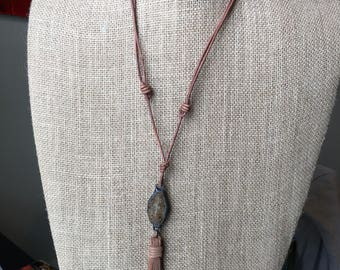 Tan Adjustable Leather Cord Necklace with Stone and Leather Tassel