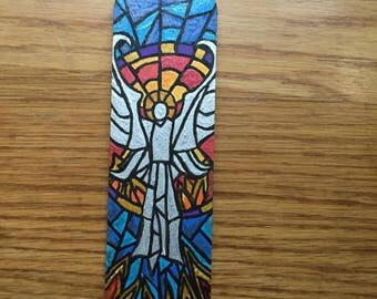Wooden Bookmarks. Hand Painted. Stained Glass Effect. Angel Holy Spirit. Unique.