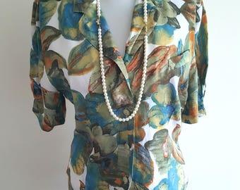 Vintage green blue floral light summer jacket/blouse UK S 10
