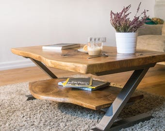 Natural Oak Live Edge TV/Coffee Table