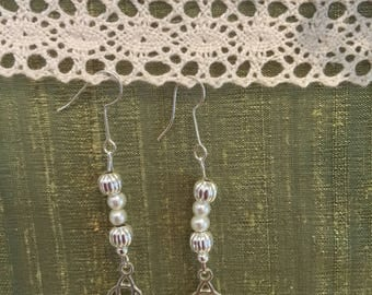 Silver handmade earrings heart shaped glass beads