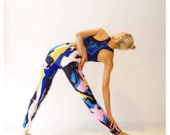 Last One! Marble Blue Printed Leggings, 40% reduced, Creative Arty Design - Comfortable Activewear - athleisure, Yoga Leggings, Yoga Pants