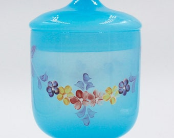 Turquoise Veritable Opale Apothecary/Trinket/Bowl with Lid - Made in Italy - Handpainted