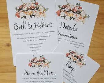 Invitation & Save the Date, Floral Watercolour Wedding Stationery