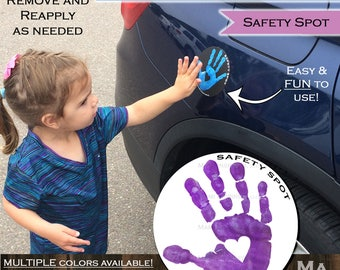Safety Spot Kids Hand Car Magnet/ Toddler Child Handprint Car Safety/ Kids Car Safety/ Parking Lot Safety Handprint Safe Spot to Stand WHITE
