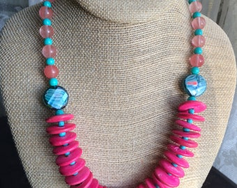 Miami Beach Jewelry, Tropical Necklace, Beach Necklace, Vacation Jewelry, Flamingos, Hot Pink & Turquoise Jewelry,Pink Discs Jewelry,Fuschia