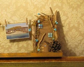 Handmade Driftwood Fairy House Washing Line Photo Holder - OOAK